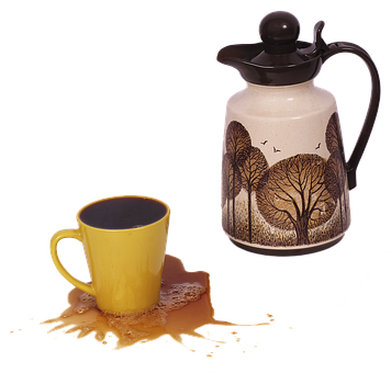 Coffee Cup, Coffee Pot, Overflowing, Defected, Cup, Pot