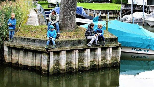 Children, Fishing, Bridge, Relax, Water