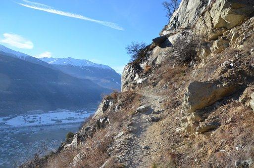 Trail, Switzerland, Alpine, Ausserberg, Summer, Clouds