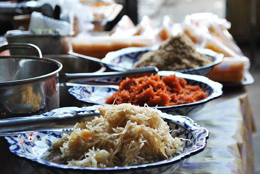 Rice Custard, Page Shift Rip, Shrimp, Candy Thailand