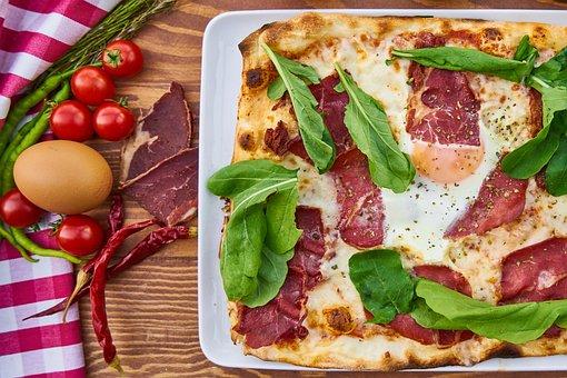 Pizza, Bacon, Green, Dough, Egg, Tomato, Food, Detail