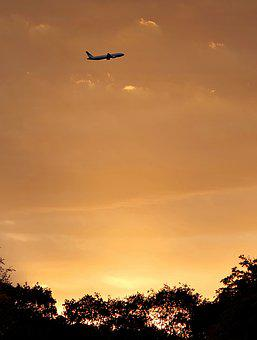 The Plane, Takes Off, Sunset, Sky, Red, Golden, Clouds