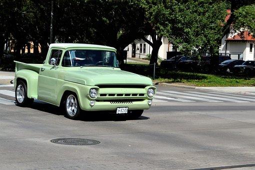 Old, Restored, Vintage Pick-up Truck, Green, Lime Green