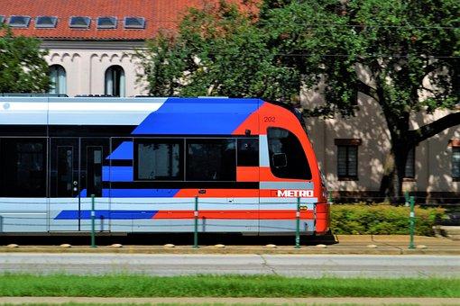 Metro Train, Houston Texas, Rail Car, Train, Metro