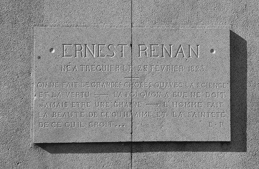 Plate Stone Mémoration, Ernest Renan
