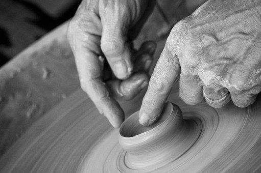 Hands, Clay, Pottery, Pottery Wheel, Throwing, Wrinkles