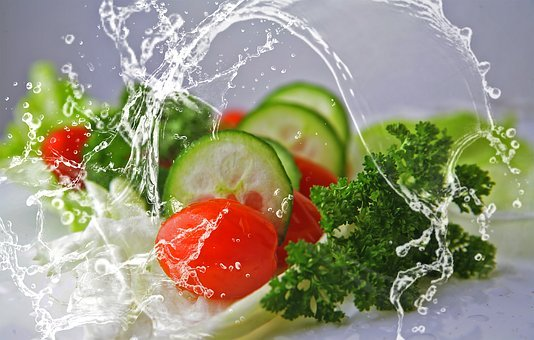 Salad, Leaves, Tomatoes, Cucumbers, Mixed, Water, Fresh