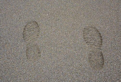 Footprints Feet, Beach, Sand, Beige, Wet Sand