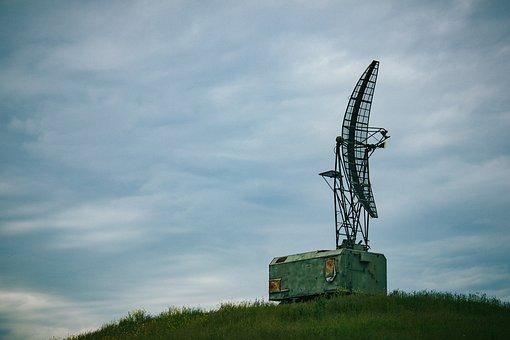 Antenna, Radar, Technique, Sky, Hill, Radio, Clouds