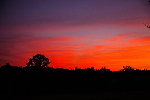 Sunset, Rural, Country, Landscape, Nature, Sun, Summer