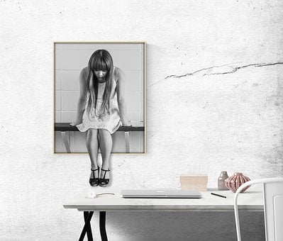 Image, Desk, Woman, Office, Worried, Girl, Wait, Sit
