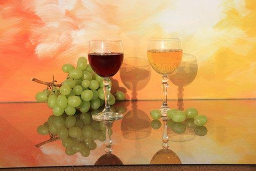 Still Life, Wine Glasses, Glass, Wine, Transparent