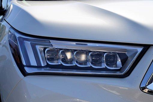 Acura Headlamp, Hood, Diamond Cut, Headlight, White Car
