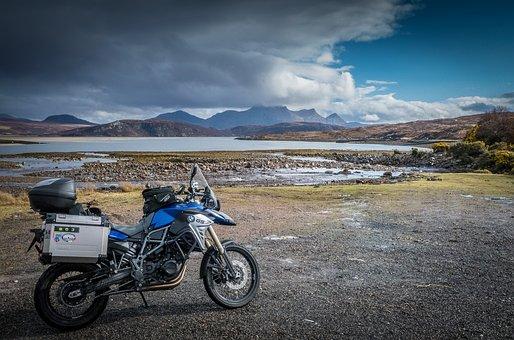 Scotland, Motorcycle, Touring Bike, Clouds, Adventure