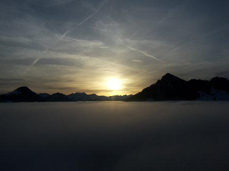 Mountains, Sunset, Clouds, Tyrol