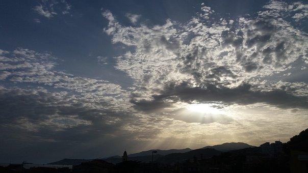 Sun, Sky, Sunset, Clouds, Sea, Ray, Vista, Horizon