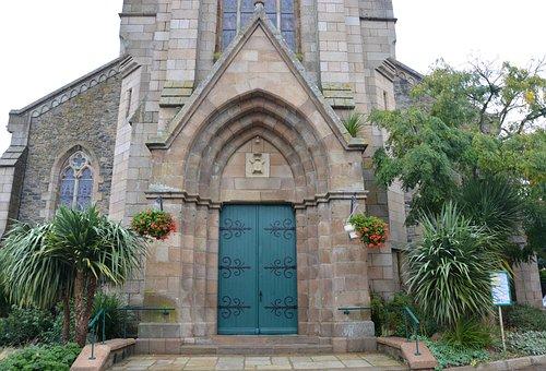 Portal, Door Wood Color Green, Church, Brittany