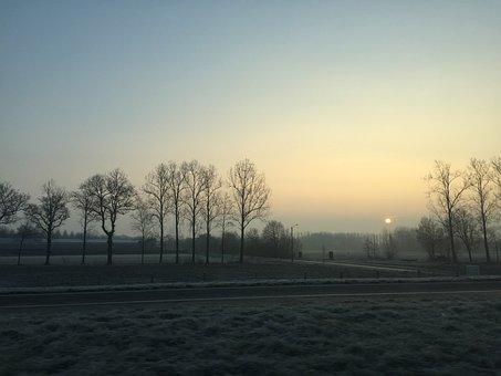Sunrise, Fields, Trees, Clear Sky, Heaven, Air