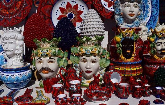 Ceramic, Sicily, Colorful, Mediterranean, Handpainted