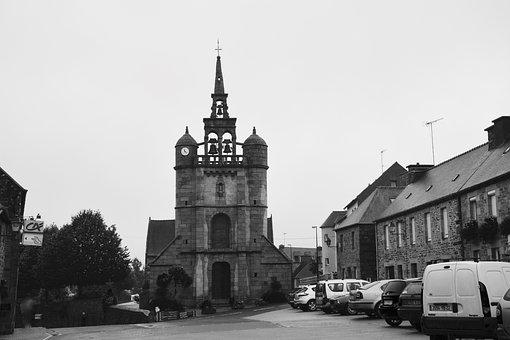 Church, Lézardrieux, Photo Black White, Bell Tower