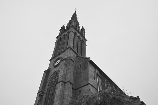 Church, Photo Black White, Architecture, Religion
