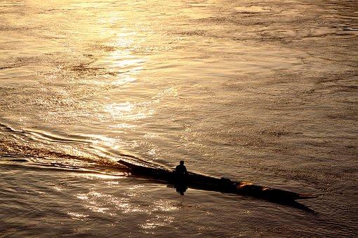 Lake, Laos, Asia, Reflections, Fisherman, Sunset