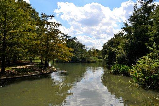 River, Lake, Cloudy, Sky, National Park, Houston, Texas