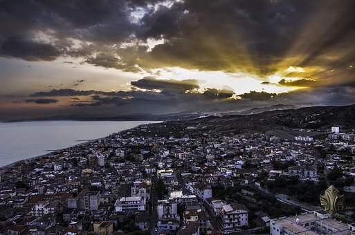 Calabria, Italy, Roccella, Landscape, Sunset, Beach