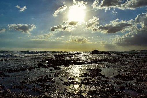 Rocky Coast, Sea, Sky, Clouds, Waves, Landscape, Rocky