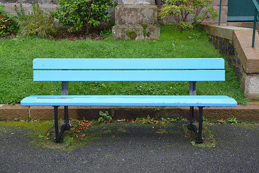 Bench Park Bench, Blue Color, Rest, Sitting, Relaxation