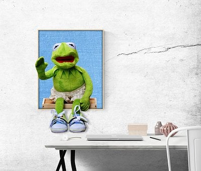 Kermit, Frog, Image, Desk, Funny, Office, 3d, Soft Toy