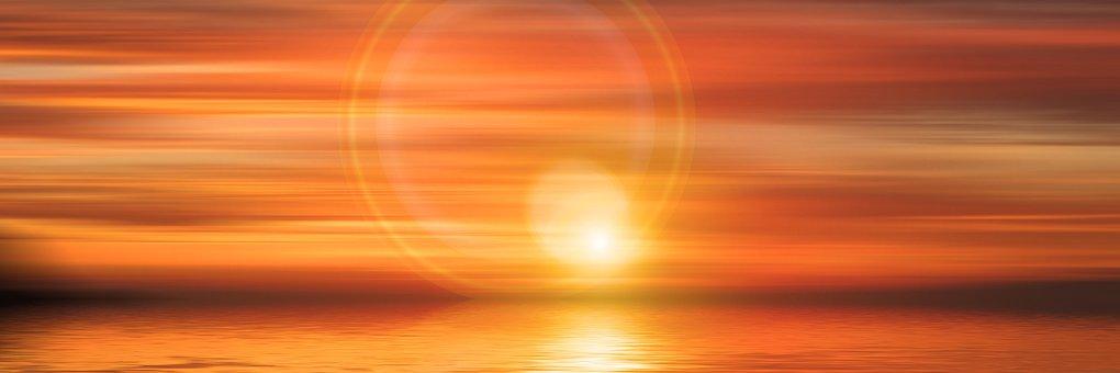 Sunset, Sun, Sea, Abendstimmung, Sky, Evening Sky