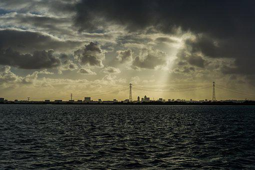 Light Beam, Clouds, Amsterdam, Water, Air, Cityscape