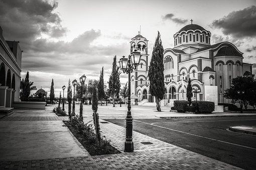 Cyprus, Paralimni, Square, Church, Architecture