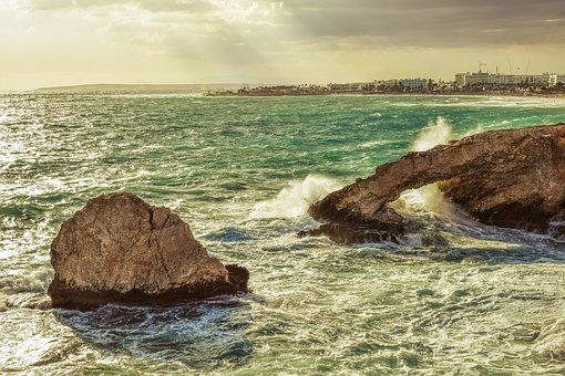 Cyprus, Ayia Napa, Autumn, Stormy, Weather, Waves
