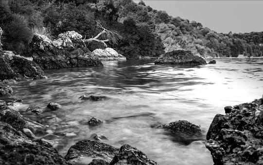 Black And White, Landscape, Sea, Red Rock, Greece