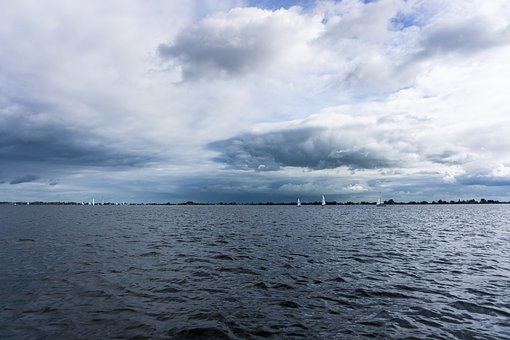 Clouds, Water, Sailing, White, Blue, Boats, Landscape