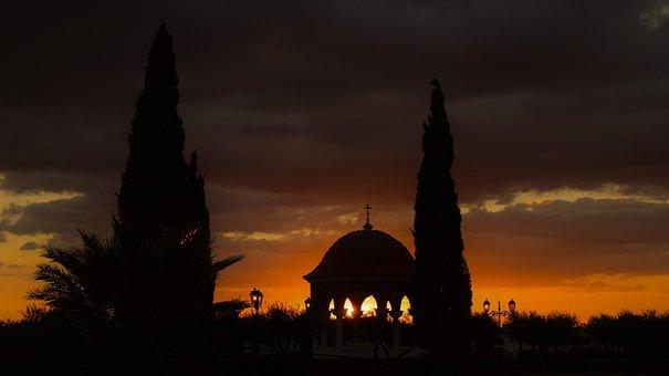 Chapel, Sunset, Landscape, Dusk, Evening, Sky, Clouds