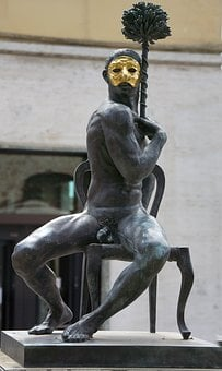 Statue, Naked, Man, Mask, Bronze, Gold, Sitting, Chair