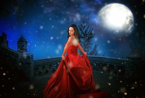 Princess, Castle, Moon, Full Moon, Half Moon, Forest