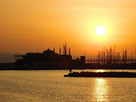 Ferris Wheel, Sunrise, Ocean, Italy, Sea, Water, Fun