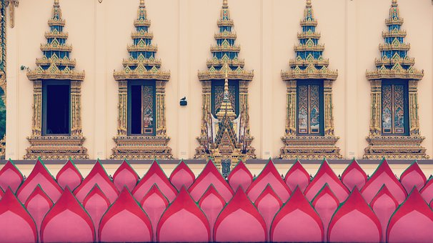 Thailand, Temple, Silent, Holy, Pink, Gold, Pray