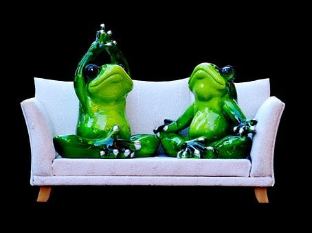 Frog, Sofa, Relaxation, Rest, Funny, Cute, Figure