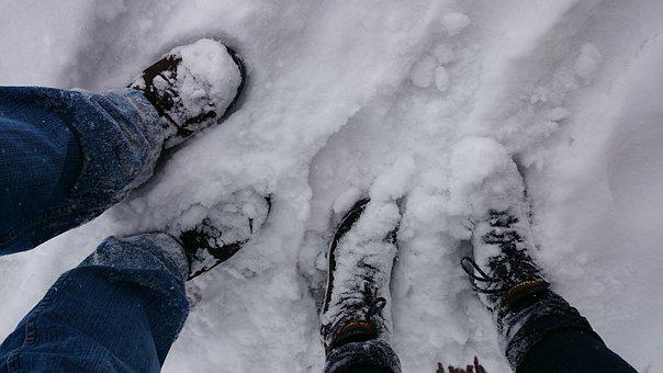 Para, Legs, Winter, Snow, Shoes, Spacer, Traces, Gray