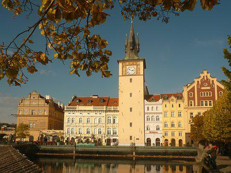 Prague, Chesnut, Vltava, Autumn, Tower, Czech Republic