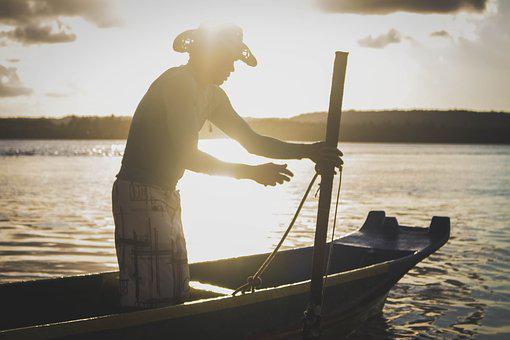 Fisherman, Sol, Tranquility, Boat, Mar, Water, Nature
