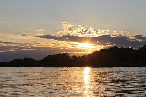 Sunset, Volkhov, Veliky Novgorod, Evening, River, Sky