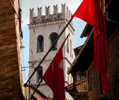 Assisi, Umbria, Torre, Flags, Old Village