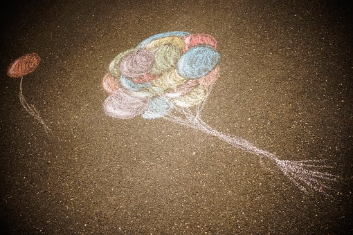 Chalk, Road, Balloons, Colorful, Pink, Blue, Green