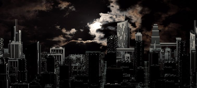 City, Night, Moon, Skyline, Skyscraper, Building